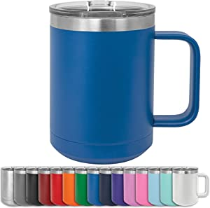 Clear Water Home Goods - 15 oz Double Wall Coffee Mug with Lid and Handle, Double Insulated Stainless Steel Travel Tumbler Cup - Powder Coated Royal Blue