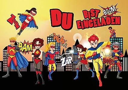12 Tarjetas De Invitación Super Héroes 12 Juego De