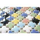 モザイクタイル 14㎜ かわいいクローバー型 セラミック(陶器) 7色 カラフル マルチカラー ミックス (日本製) クラフト ハンドメイド に (300g、約210個)