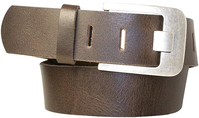 Fronhofer large ceinture 5 cm   Cuir véritable, Cuir de buffle   Boucle  effet argent 287eb753d76