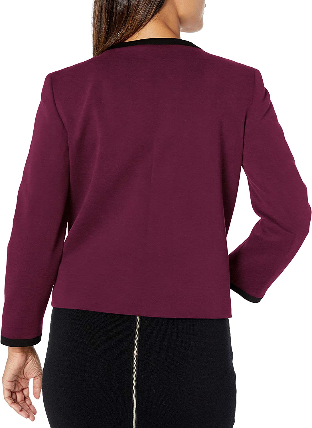 Nine West Womens Ponte Jewel Neck Jacket with Trimming Detail