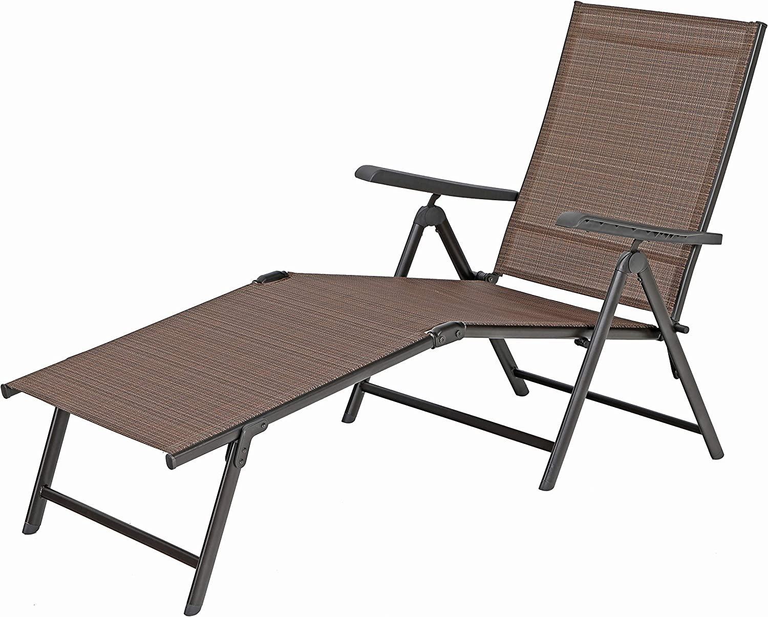 PHI VILLA 5 Stages Adjustable Patio Folding Lounge Chair Metal Outdoor Recliner Chaise for Beach Yard Pool – – Brown