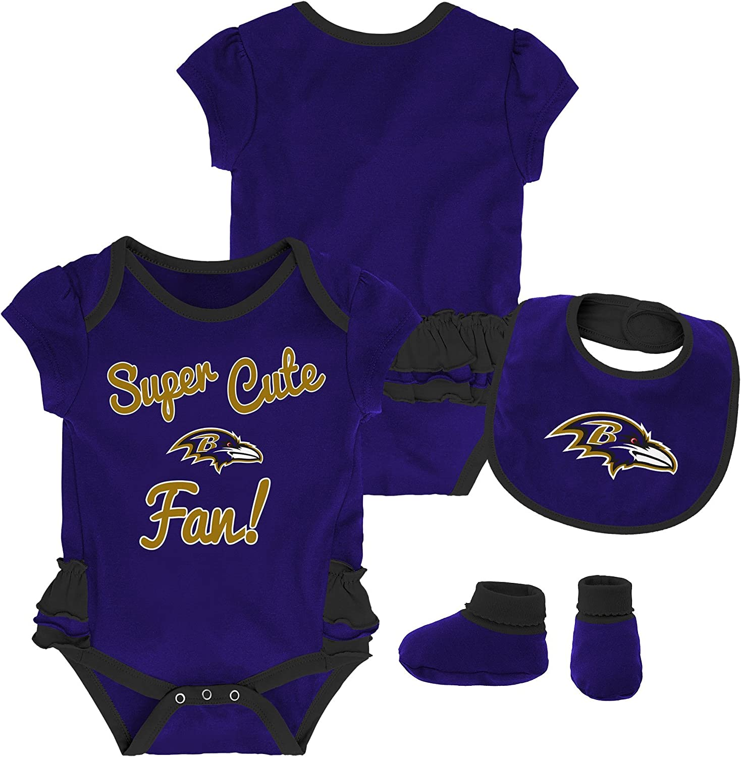 Outerstuff NFL Baby-Girls Newborn & Infant Mini Trifecta Bodysuit, Bib, Bootie Set