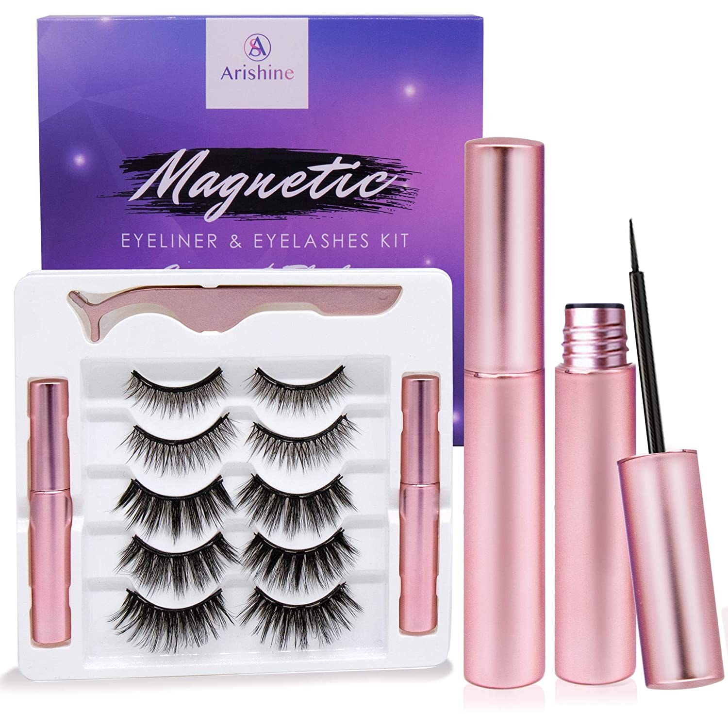 Arishine Magnetic Eyeliner and Lashes Kit, Magnetic Eyeliner for Magnetic Lashes Set, With Reusable Lashes [5 Pairs]