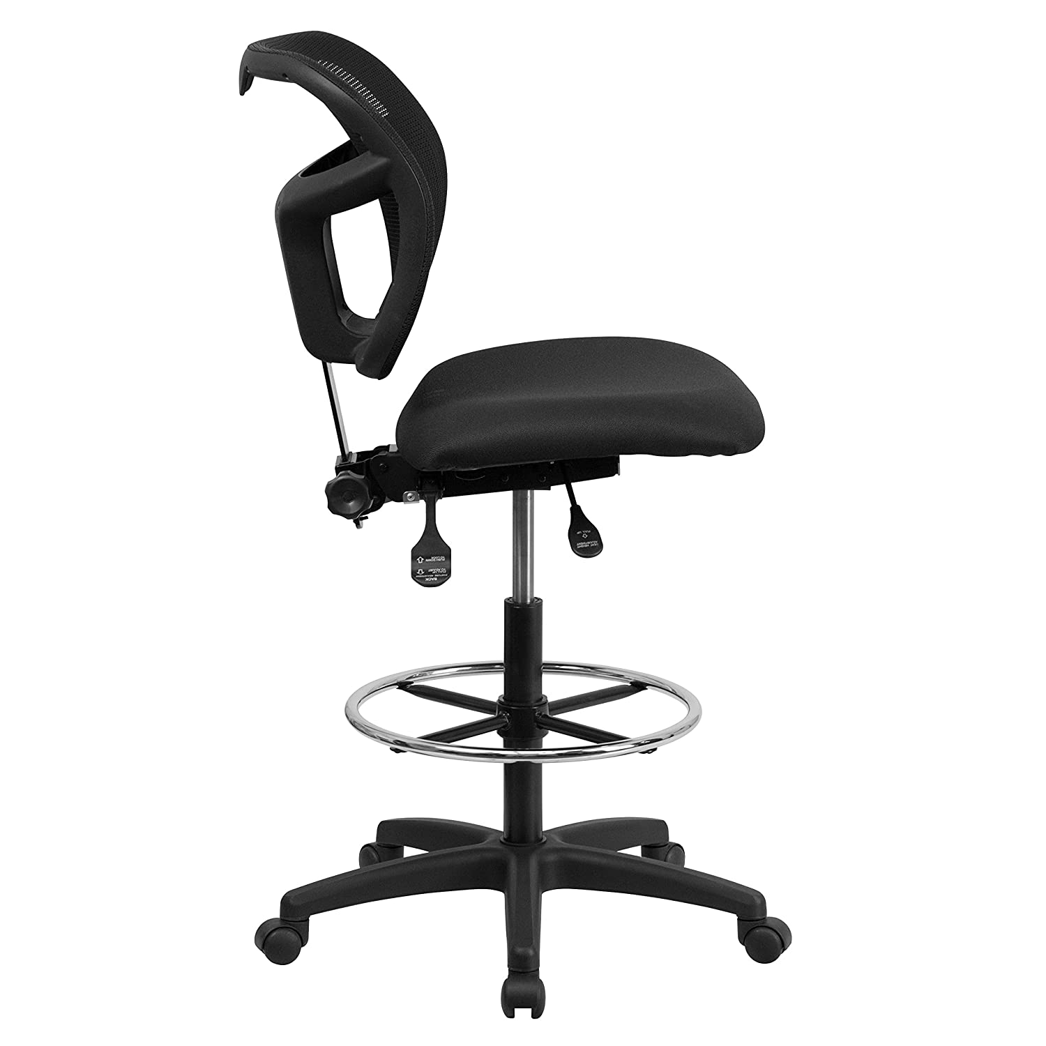 Flash Furniture WL-A7671SYG-BK-D-GG Mid-Back Mesh Drafting Stool with Black Fabric Seat