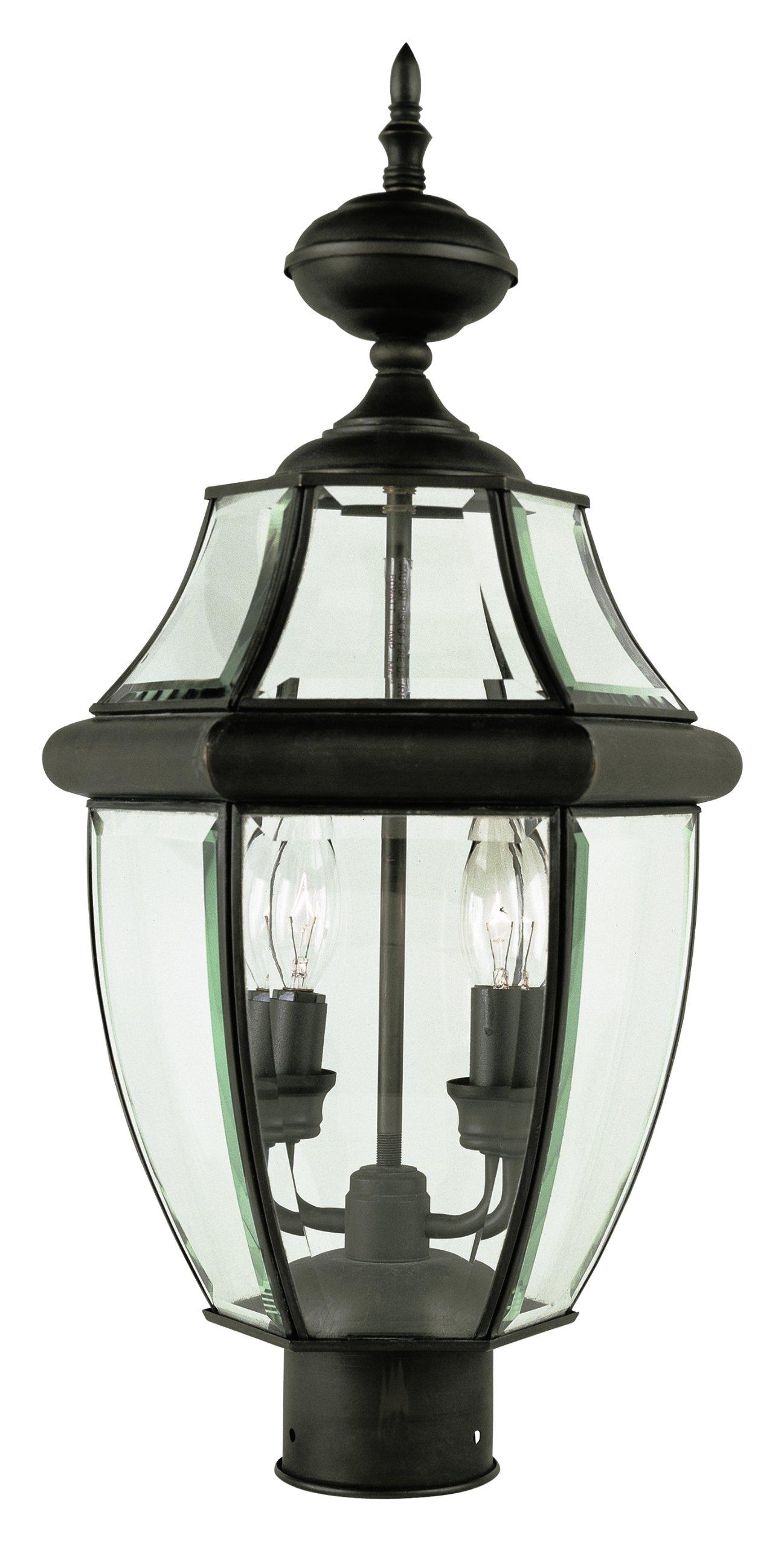 Trans Globe Lighting 4321 WB Outdoor Courtyard 21.5'' Postmount Lantern, Weathered Bronze