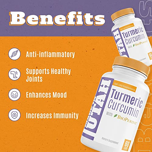 Turmeric Curcumin with BioPerine – Best Absorption and Bioavailability, Anti-Inflammatory and Natural Antioxidant with 95 Curcuminoids for Joint Pain Relief – 60 Capsules