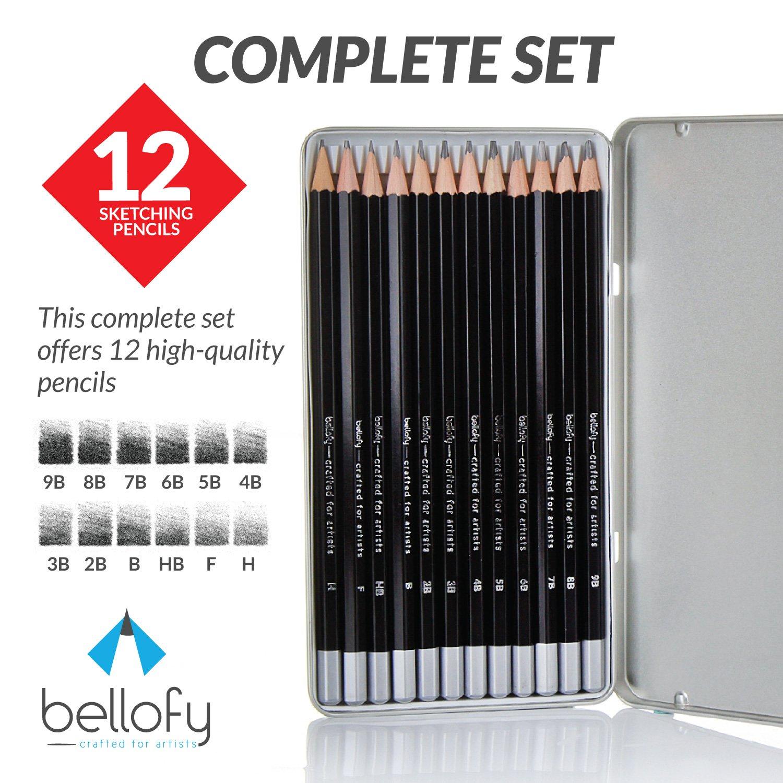 Bellofy 12 drawing pencils art pencils sketch travel set artists drawing kit 9b 8b 7b 6b 5b 4b 3b 2b b hb f h precision graphite