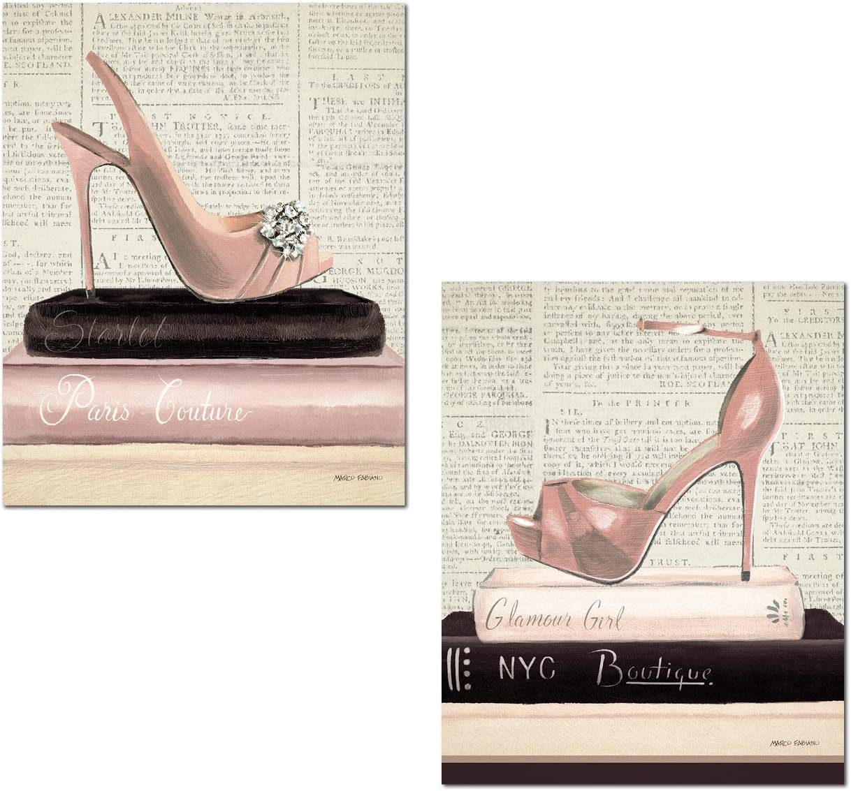 Trendy Pink High-Heels Atop Couture and Boutique Books by Marco Fabiano; Two 11x14in Poster Prints