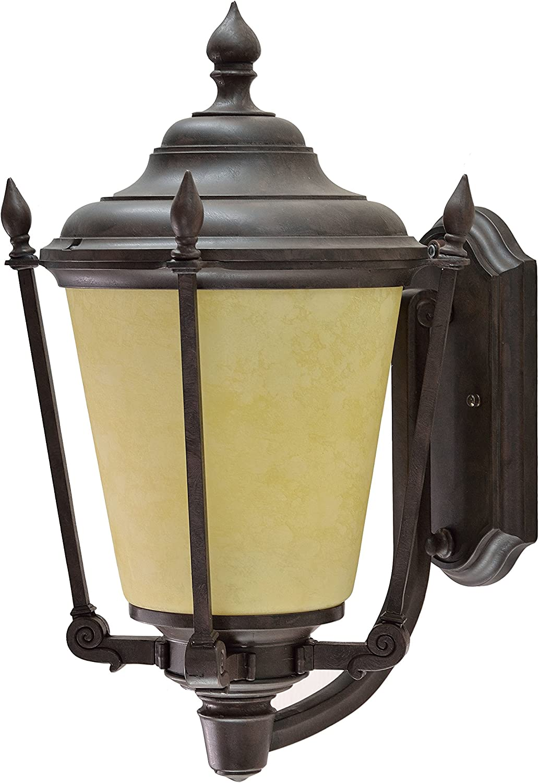 Aspen Creative 60005-2 1 Medium Outdoor Post Light Fixture with Dusk to Dawn Sensor 20 High 20 High Transitional Design in Aged Bronze Patina