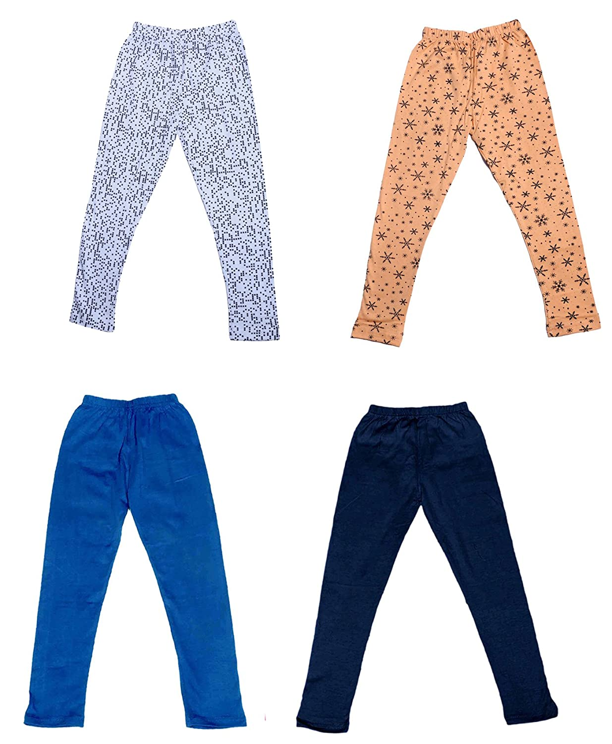 Pack Of 4 Indistar Girls 2 Cotton Solid Legging Pants /_Multicolor/_Size-7-8 Years/_71409101921-IW-P4-30 and 2 Cotton Printed Legging Pants