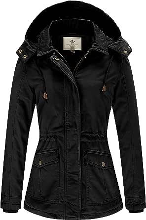 WenVen Women's Warm Casual Cotton Winter Jacket with Detachable Hood