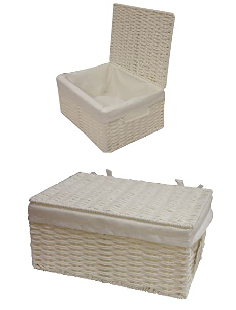 White Paper Rope Storage Basket Box With Lid U0026 Removable Inner Cloth Set Of  2 (