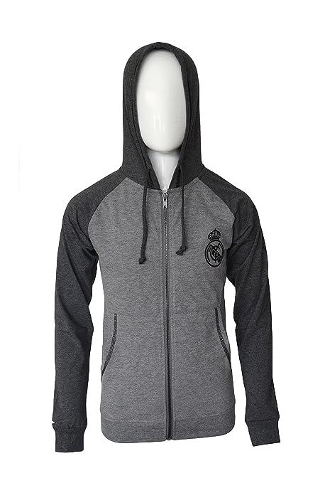 51adeac0794 Real Madrid Hoodie Soccer Fz Summer Light Zip up Jacket Lightweight Grey  Youth (Gray