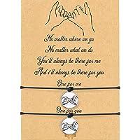 WILLBOND 2 pulseras de promesa de amistad para parejas, distancia y graduación, bohemia