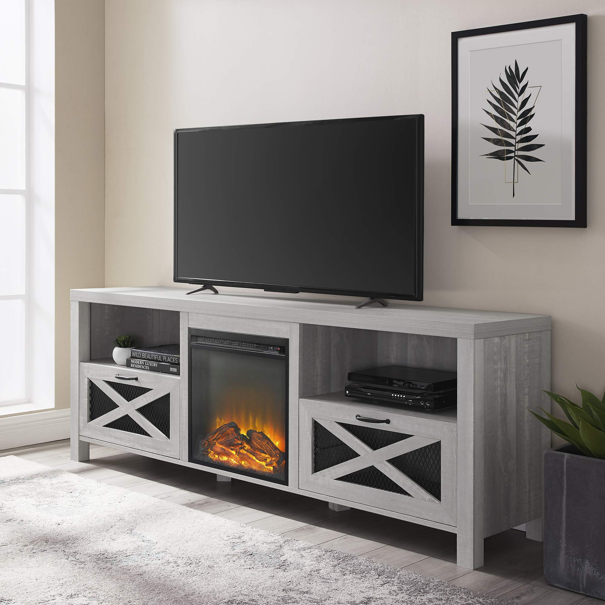 Walker Edison Calgary Industrial Farmhouse X-Drawer Metal Mesh and Wood Fireplace TV Stand for TVs up to 80 Inches, 70 Inch, Stone Grey