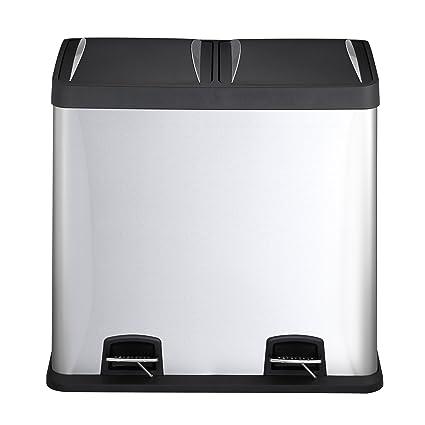 Mari Home 48L Cubo de basura de acero inoxidable huella digital resistente Basurero reciclaje Dos compartimientos
