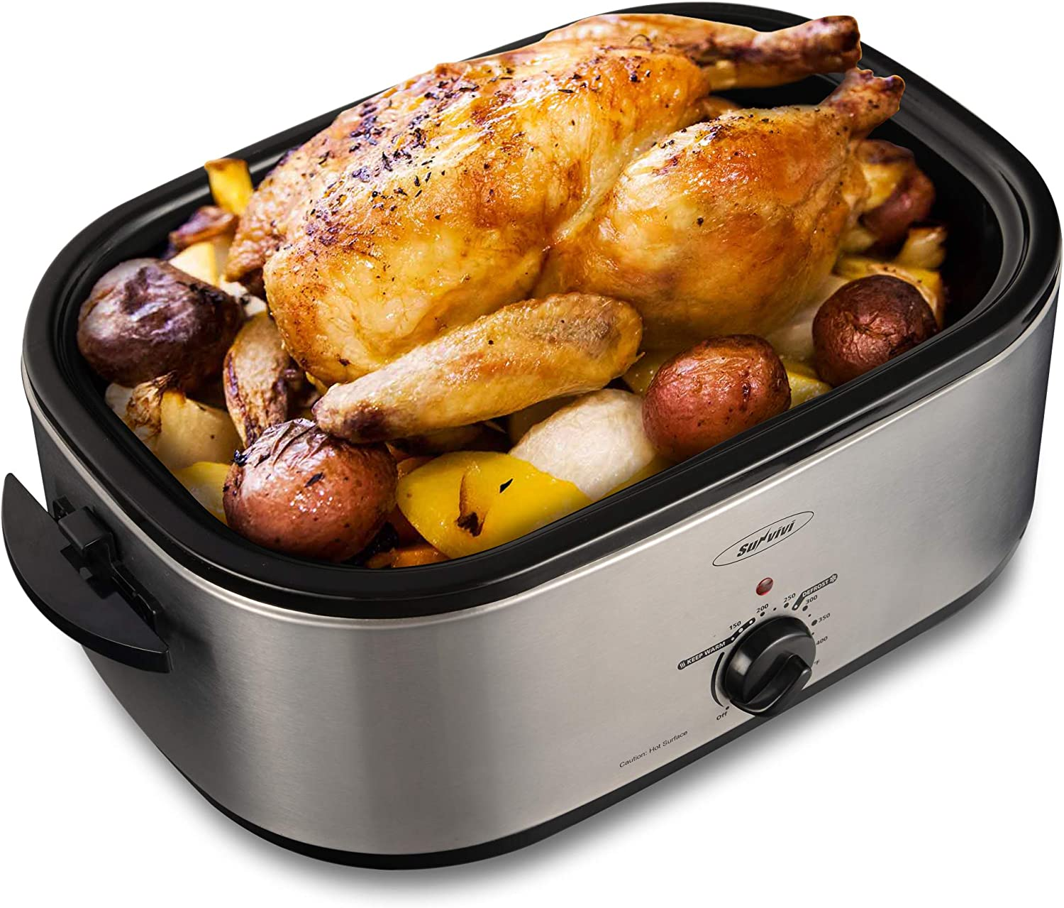 Large Electric Roaster Oven with Self-Basting Lid, Turkey Roaster Oven with Removable Insert Pot, Full-range Temperature Control and Cool-Touch Handles (20 QT, Silver)