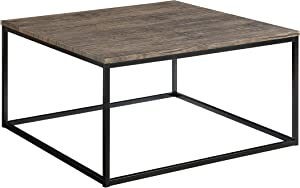 Abington Lane Contemporary Square Coffee Table - Modern Cocktail Table, Sofa Table for Living Room and Office (Distressed Pecan)