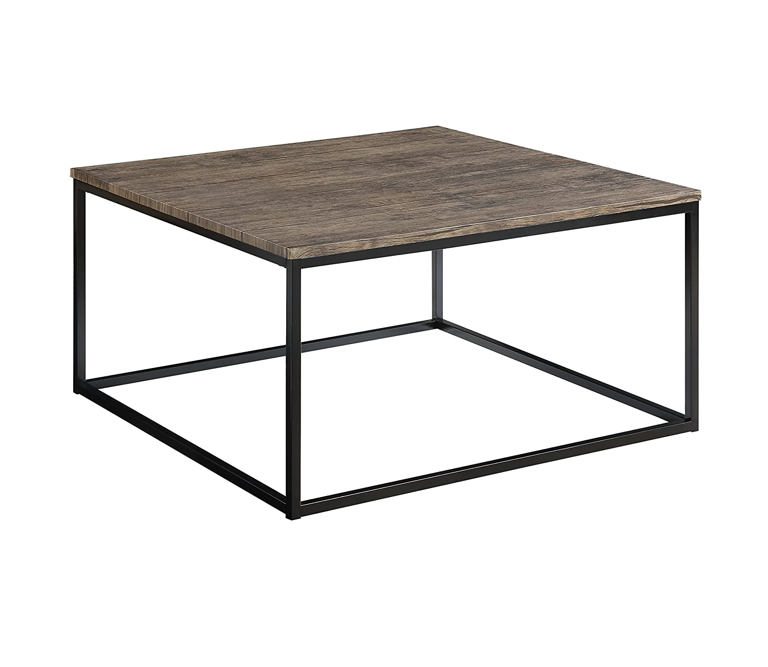 Image of Abington Lane - Contemporary Square Coffee Table - Modern Cocktail Table, Sofa Table for Living Room and Office - (Distressed Pecan) Home and Kitchen