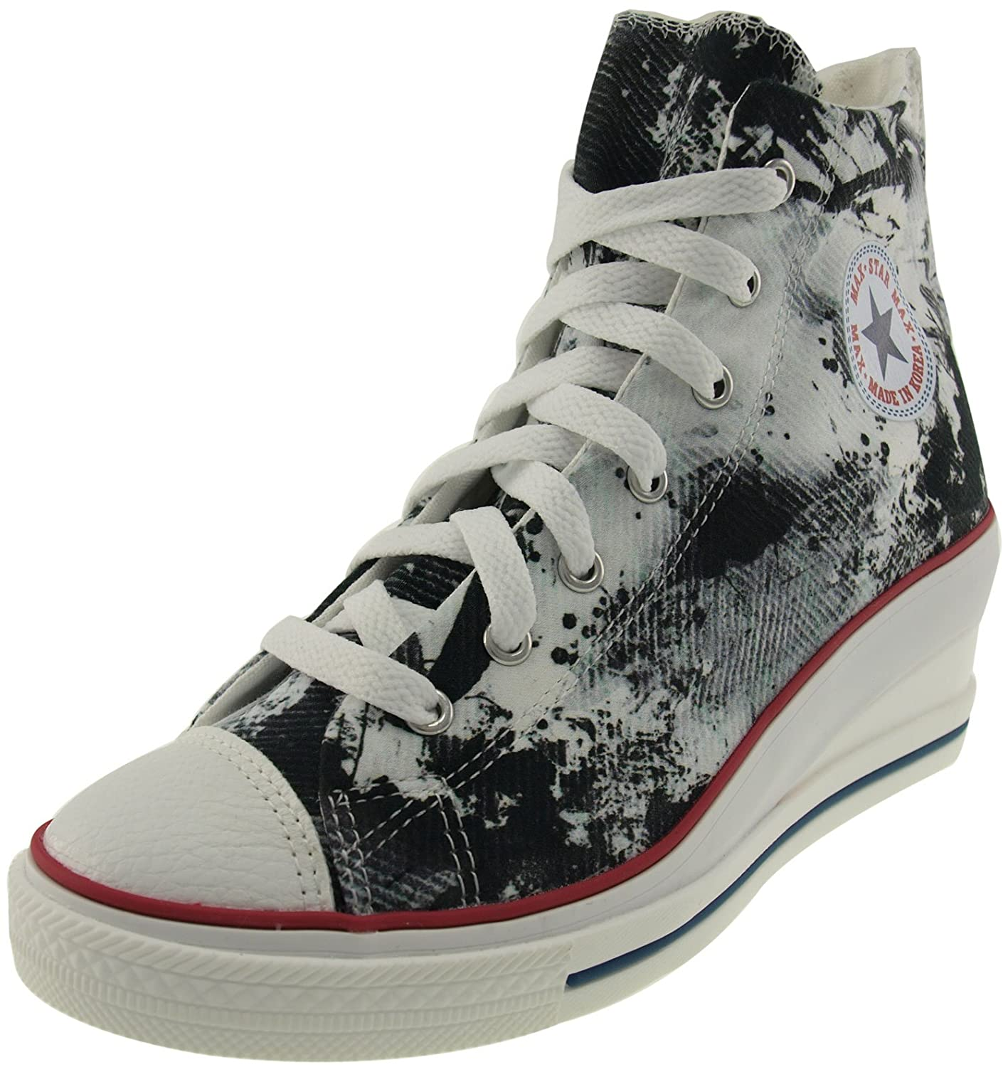 Maxstar Women's 7H Zipper Low Wedge Heel Sneakers B00XP08608 8 B(M) US|Printed Black