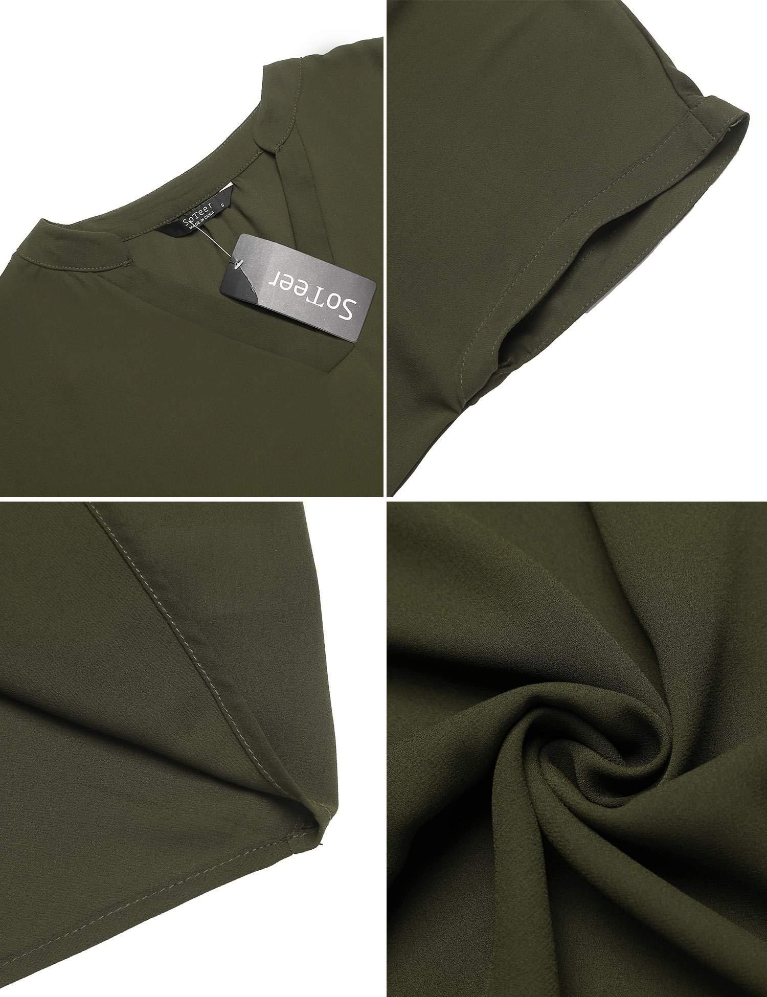 SUNAELIA Women Chiffon Blouse V Neck Short Sleeve Casual Top Shirts for Summer Army Green
