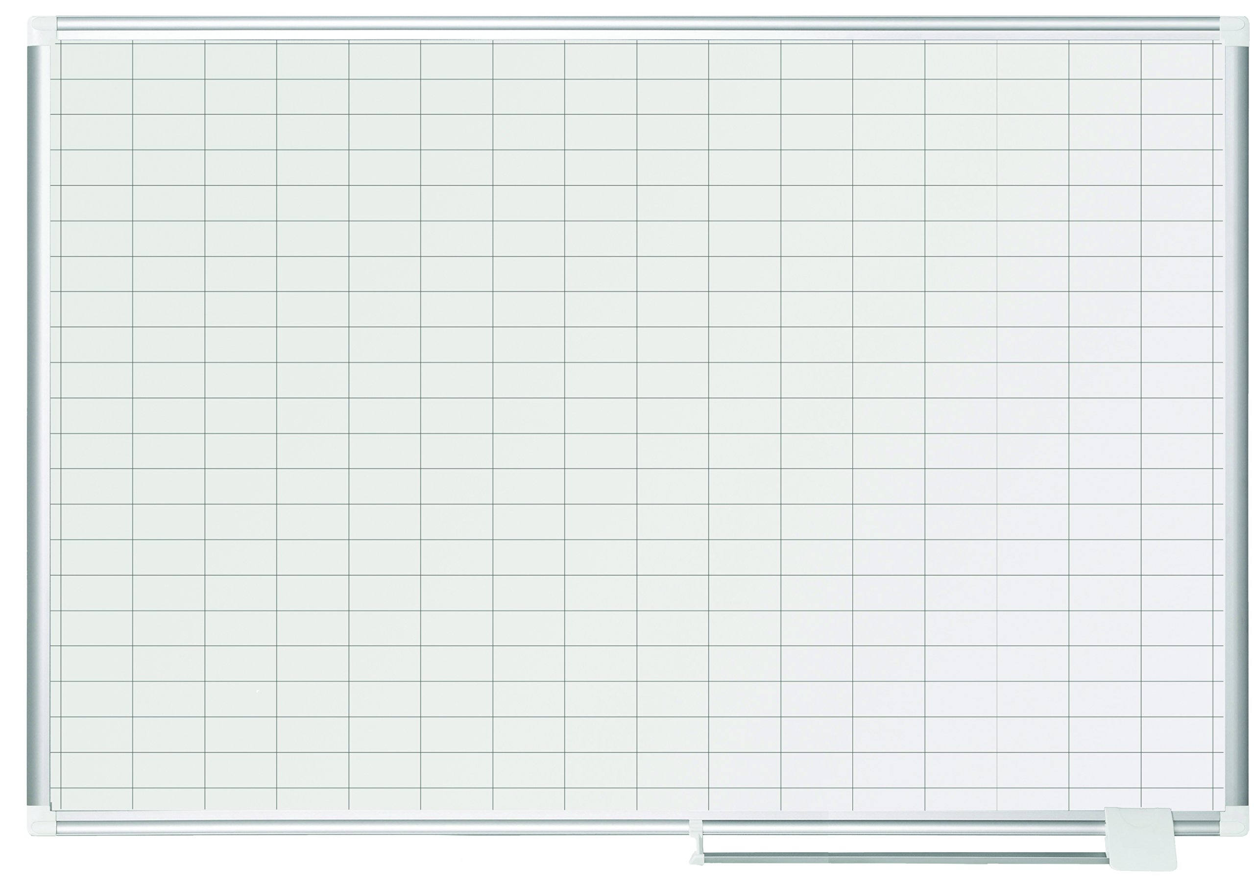 MasterVision Planning Board Porcelain Dry Erase Magnetic 1'' x 2'' Grid, 36'' x 48'', Whiteboard with Aluminum Frame