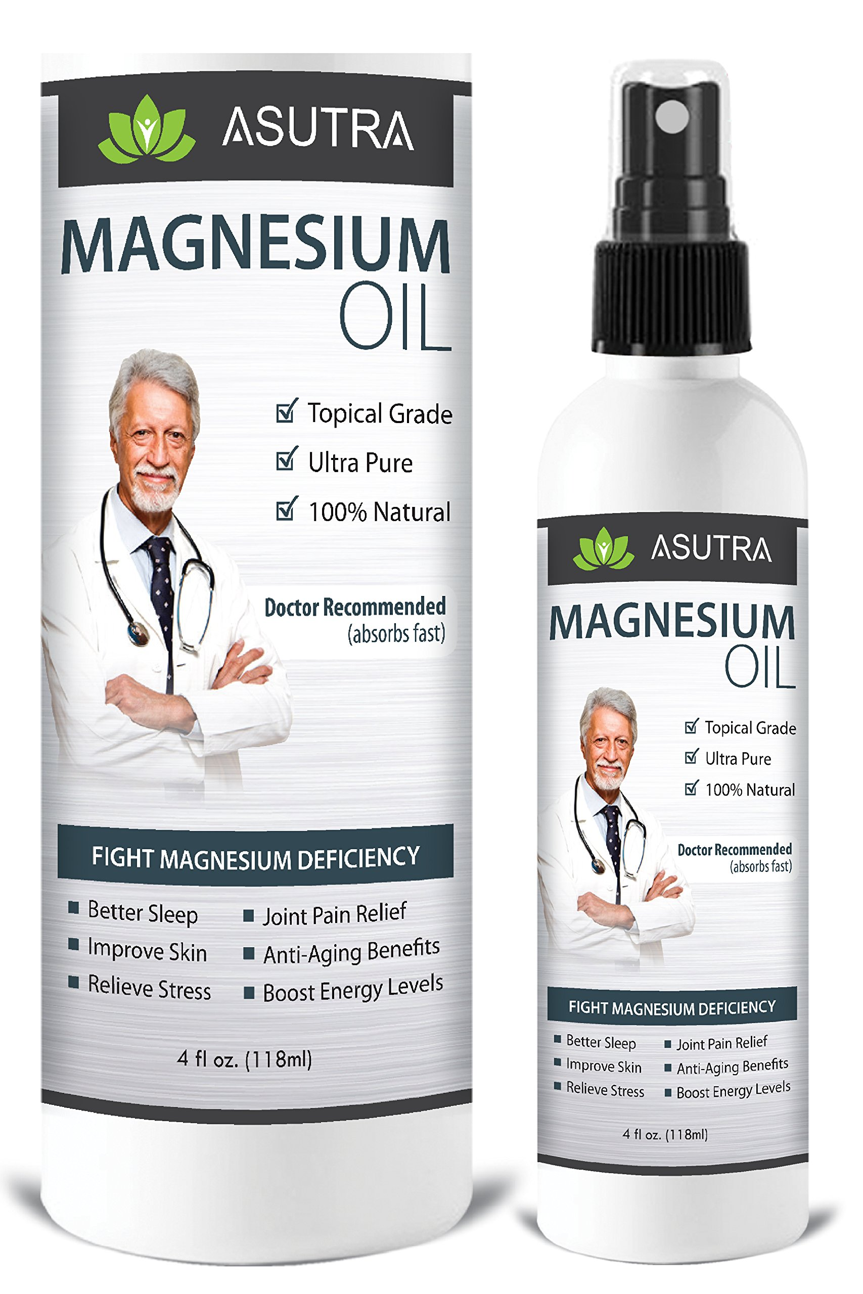 Pure Zechstein Magnesium Oil Spray - LESS ITCH & LESS STING / Effective Rapid Transdermal Absorption - Ultra Pure & Potent + FREE Magnesium E-Book (one 4oz bottle)