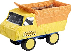 Blue Panda Small Dump Truck Pinata, Kids Construction Birthday Party Supplies, 15.5 x 9 x 6 Inches