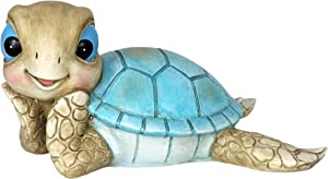 """Exhart Sunbathing Turtle Yard Decoration, Hand Painted Resin Outdoor Garden Turtle Statue, UV Treated, Weather Resistant Tortoise Outdoor Décor, Beach Inspired Decor for Lawns, 9.5"""" L x 5.1"""" W x 7"""" H"""