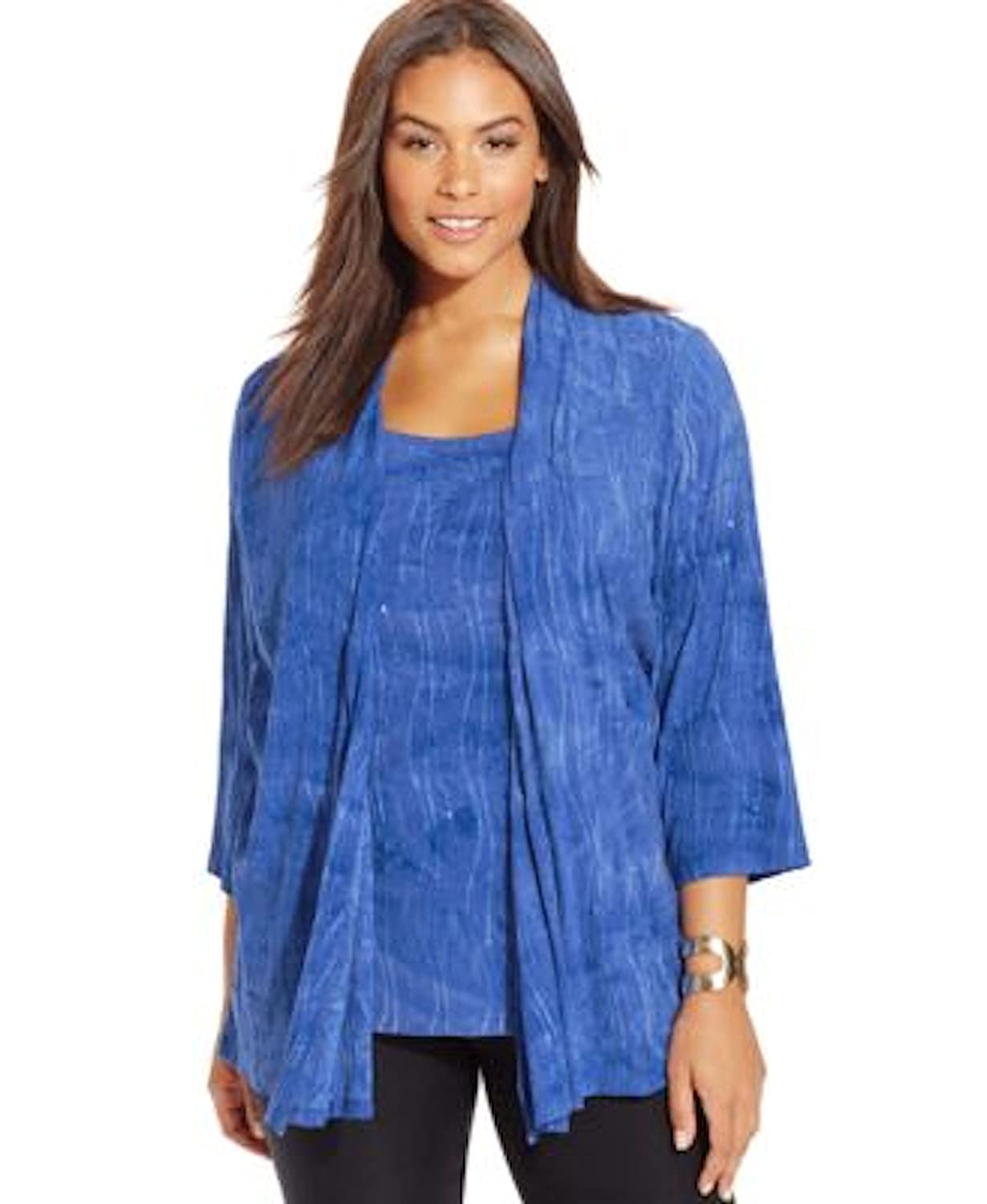 JM Collection Womens Plus 2 In 1 Embellished Casual Top Blue 2X