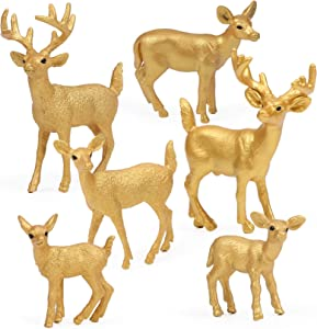 UANDME 6pcs Golden Deer Figurines, Forest Animal Figures, Woodland Creatures Figurines, White-Tailed Deer Family Cake Topper