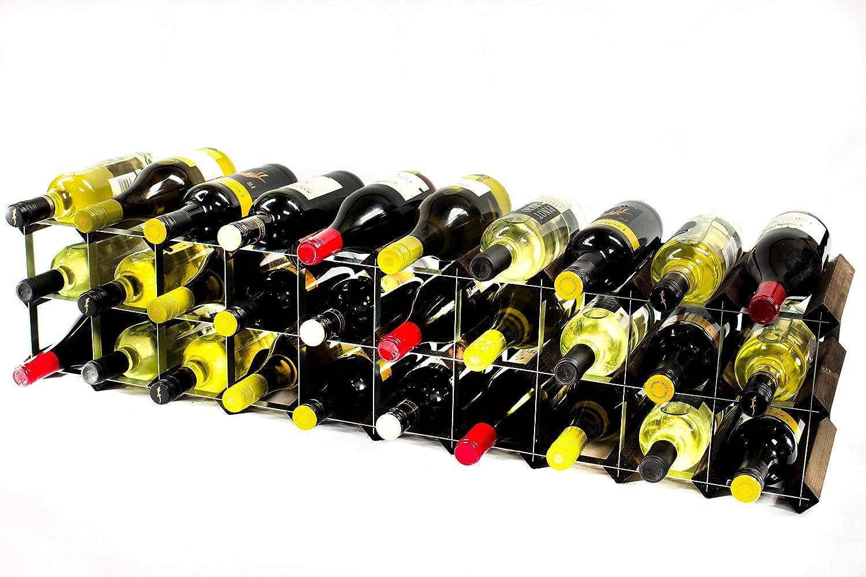 Cranville wine racks Klassische 20 30 Flasche Schrank oben Eiche dunkel gebeiztem Holz und verzinktem Metall Weinregal fertig montiert