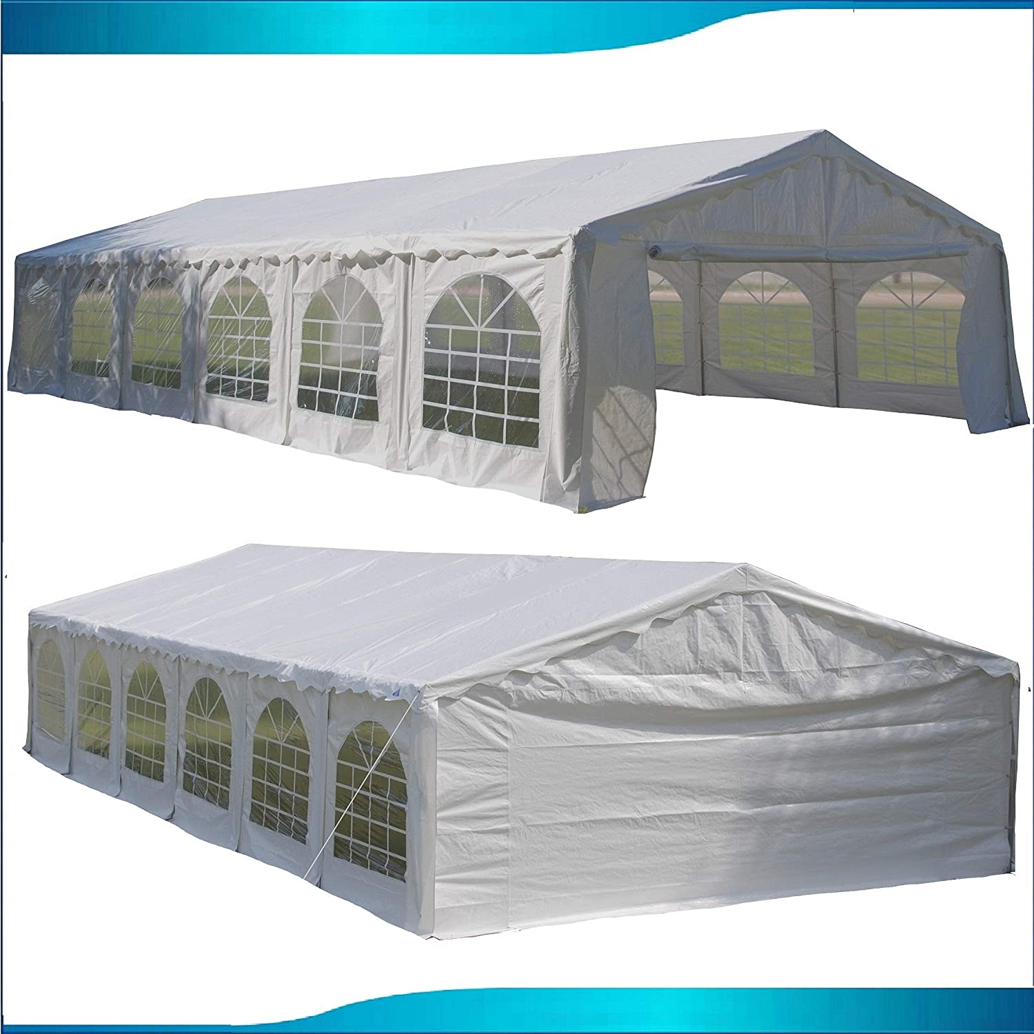 DELTA Canopies Budget PE Party Tent Canopy Shelter White – 40 x20