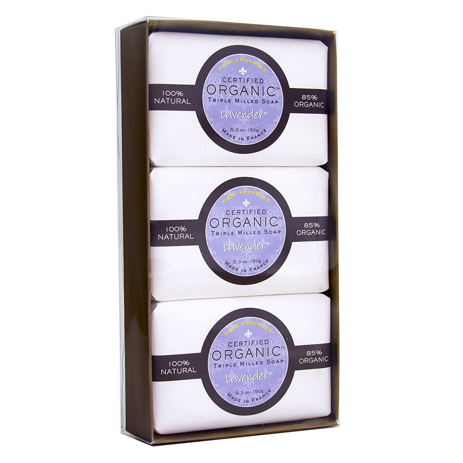 Pure Provence Natural and Organic Triple Milled French Lavender Soap, Organic Shea Butter, Luxury Full-Size Bars, 100% Vegetable Based, Relaxing, Gift Box, Paraben Free 3x5.3 oz (150g) Pack Ton Savon