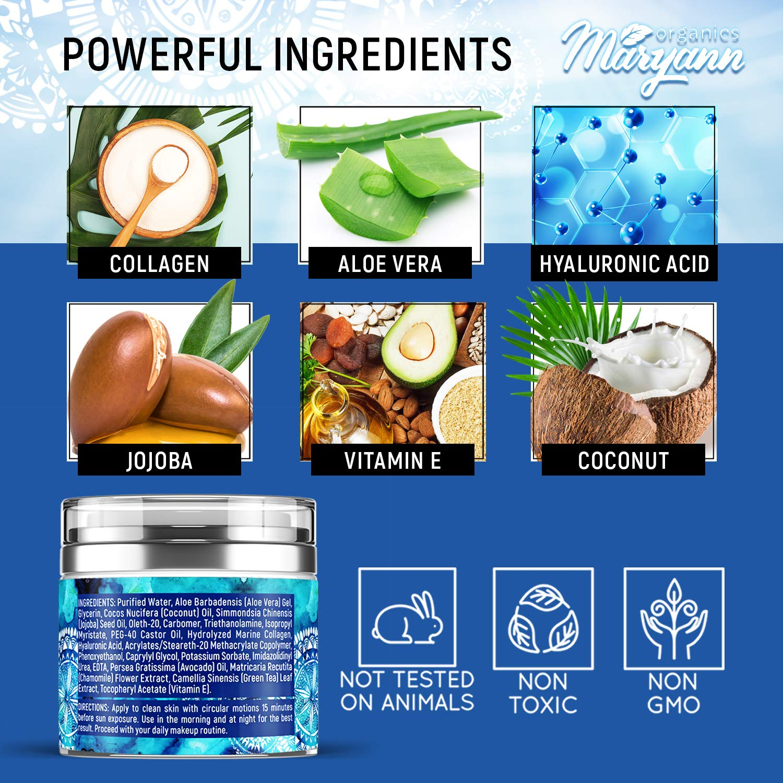 Water Gel Cream - Water Based Face Moisturizer Collagen Cream - Made in USA - Hyaluronic Acid Face Hydrating Moisturizer - Regeneration & Wrinkle Repair Cream for Moisture Boost - 1.7 fl oz: Beauty