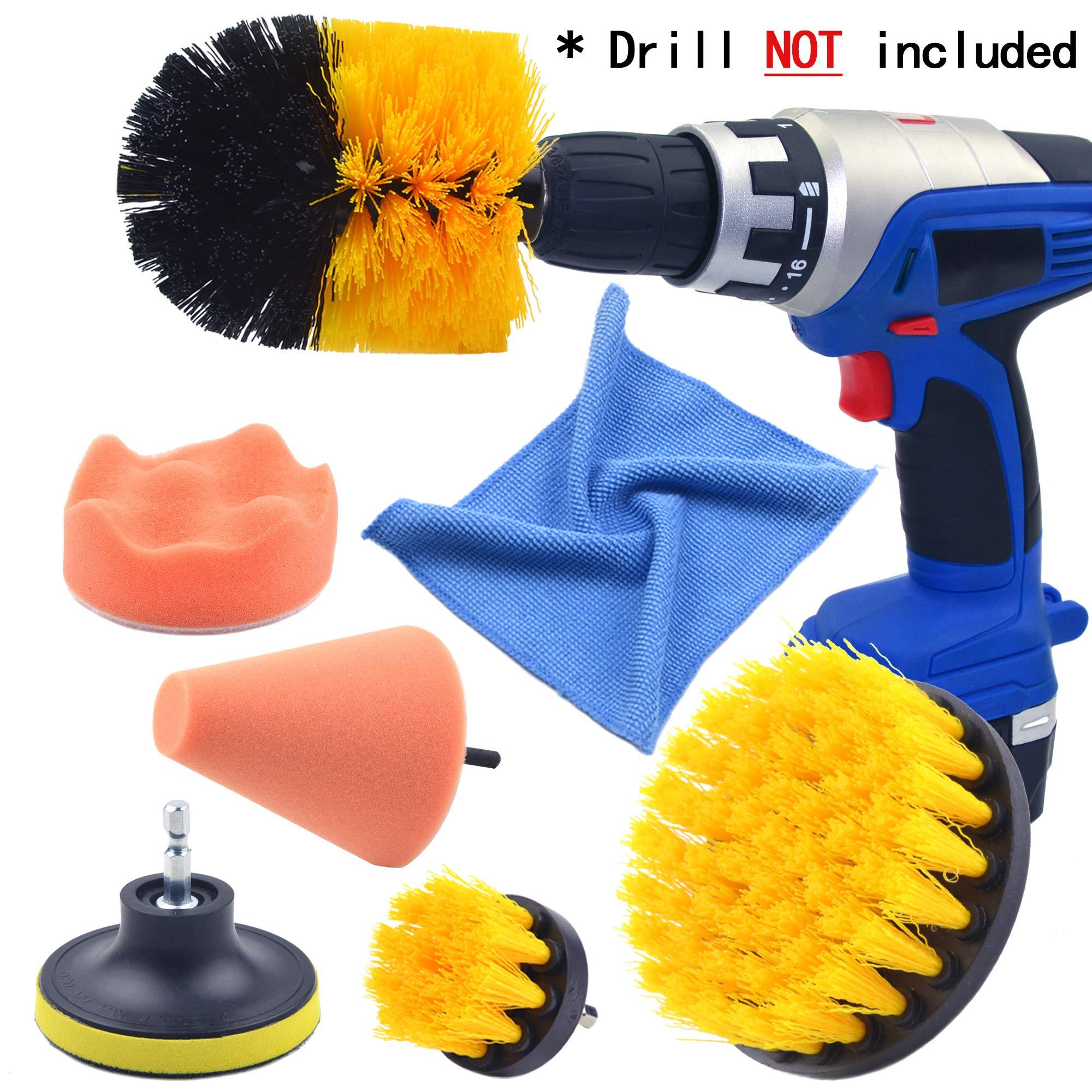 Multipurpose Drill Brush Scrubber Cleaning Set for Car Wheels, Car Seats, Car Carpet Medium Stiff Brushes, Car Wave Polishing Sponge, Wheels Tiles Hubs Care Power Cone Buffing Sponge, 6PCS/Set