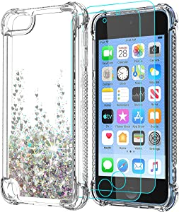 SunStory iPod Touch 7 Case with HD Screen Protector [Two Pack],iPod Touch 6 Case,Touch 5 Case for Girls Women,with Anti-Fall Angle and Quicksand Cover for Apple iPod Touch 7th/ 6th/ 5th Phone-Silver