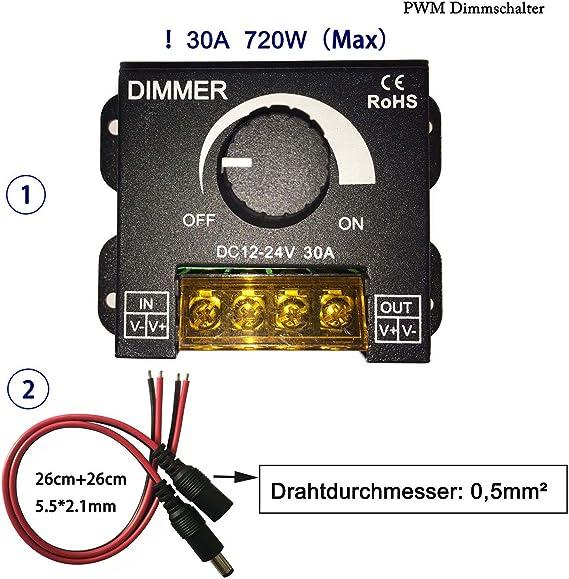DC12~24V Kabenjee 0/%~100/% PWM Dimmer Schalter mit Drehknopf EIN//AUS Funktion,Schwarzem Aluminiumgeh/äuse,Max 30A Dimmen f/ür LED Band,Motor Gouverneur Kontrolleur,Kabelgebundene Dimmer f/ür Ventilator