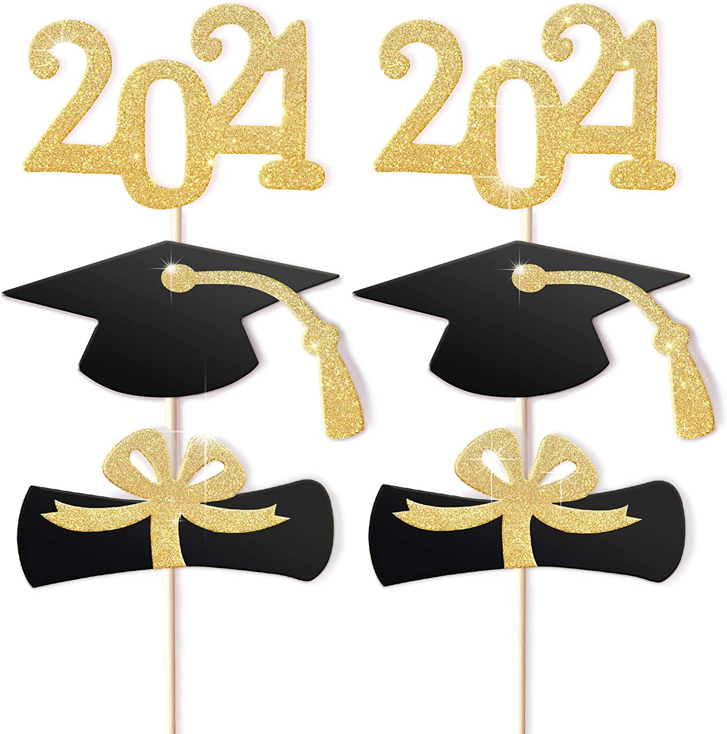 Dmaxia 2021 Graduation Cupcake Toppers,Food Appetizer Picks For Graduate Party Mini Cake Decorations Diploma 2021 Grad Cap Pack of 48