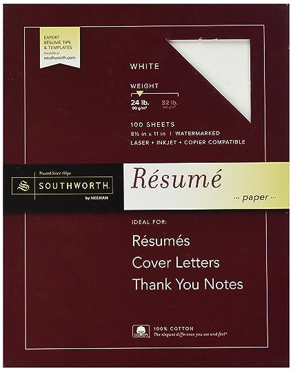 southworth 100 cotton resume paper white 24 lbs wove 8 - Resume Paper Amazon