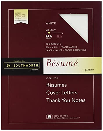 Southworth 100% Cotton Resume Paper, White, 24 Lbs., Wove, 8  Resume Paper Weight