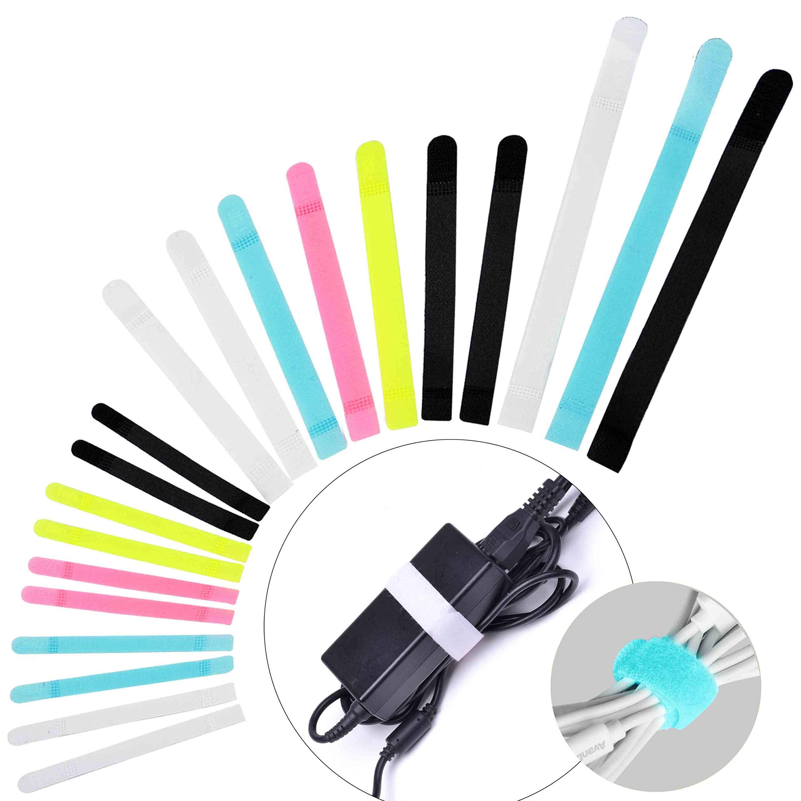 Avantree 50 Uds. Tiras Sujeta-Cables de Diseño Especial y Cierre, Tiras Reutilizables para enrollar y organizar Cables, Tres Medidas Disponibles para ...