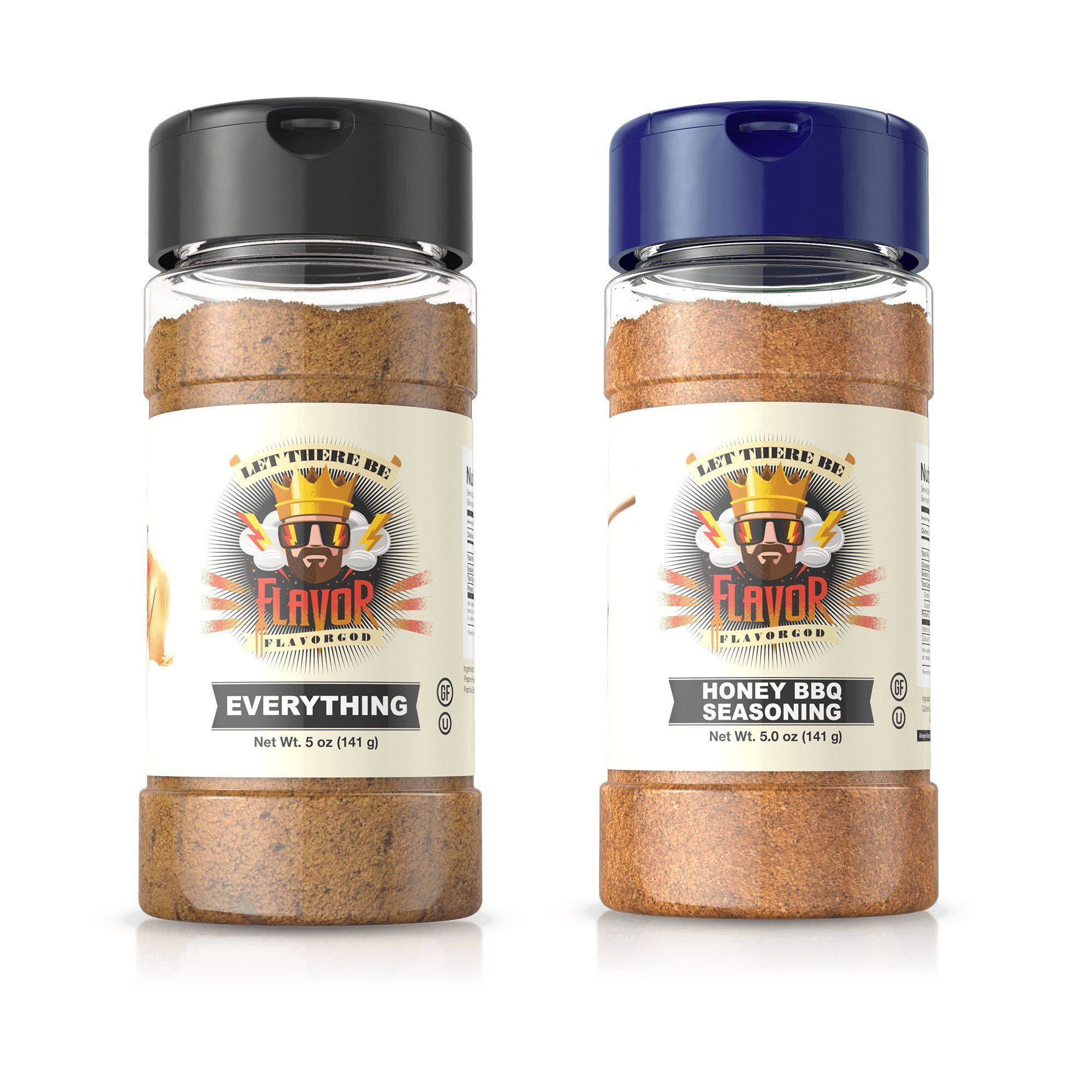 Flavor God Seasonings - BBQ Grilling Duo - Everything & Honey BBQ (Gluten Free, GMO Free, MSG Free, Low Sodium, Paleo Friendly)