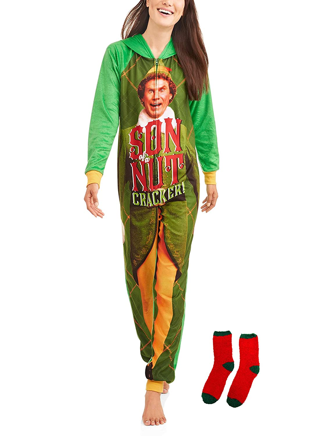 Elf Buddy The Women s Pajama Union Suit One Piece Sleepwear w Matching Sock  Gift Set at Amazon Women s Clothing store  0c502fca11f1