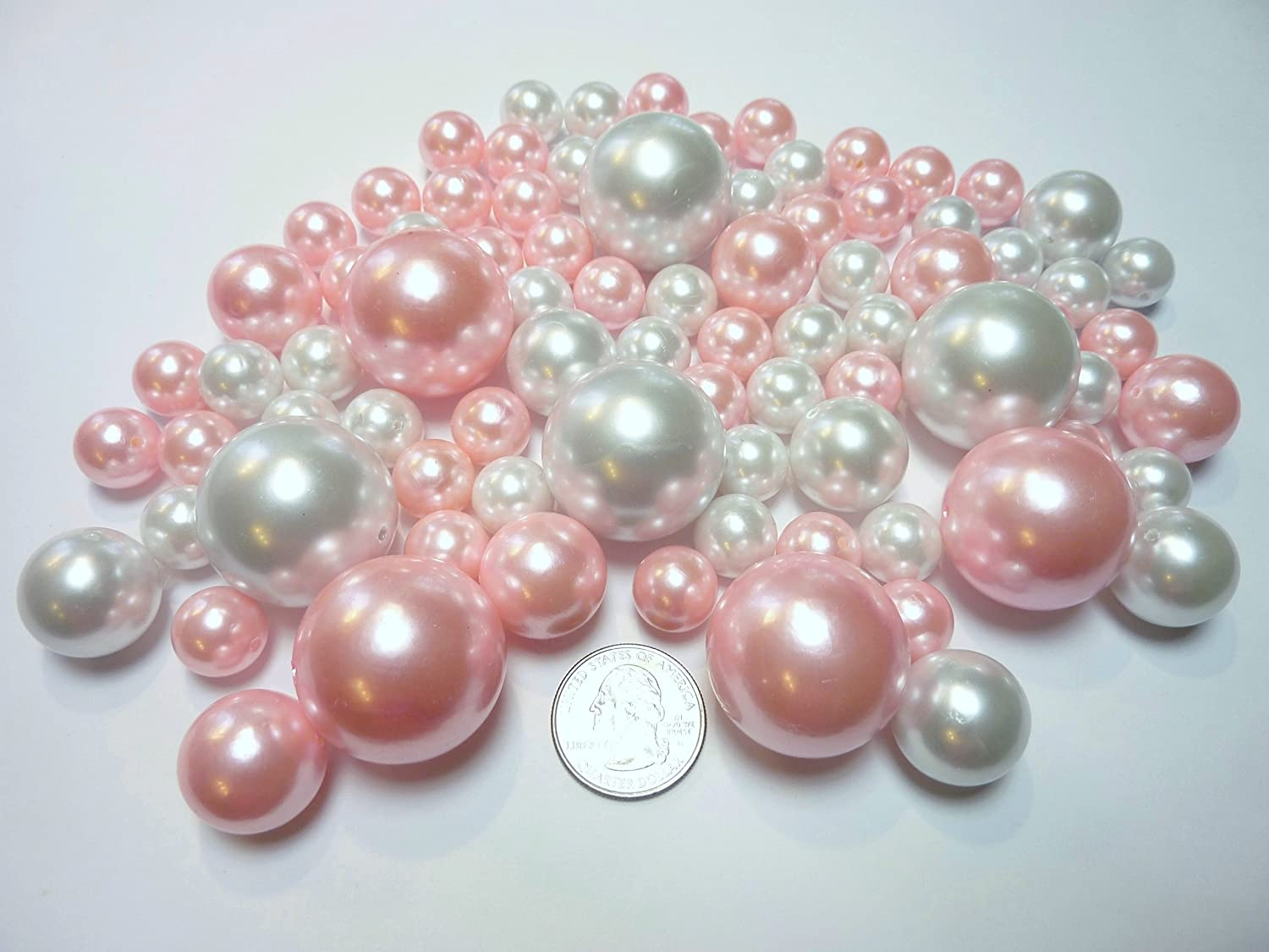 Amazon 80 light baby pinkblush pink and white pearls jumbo amazon 80 light baby pinkblush pink and white pearls jumbo and assorted sizes vase fillers value pack float the pearls you will need to order reviewsmspy