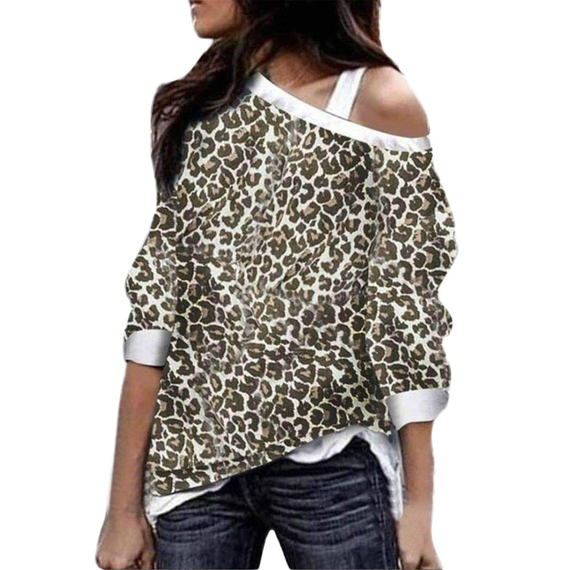 SMALLE ◕‿◕ Fashion in Women's Off Shoulder Long Sleeve Leopard Sweatshirt Loose Sexy Pullover
