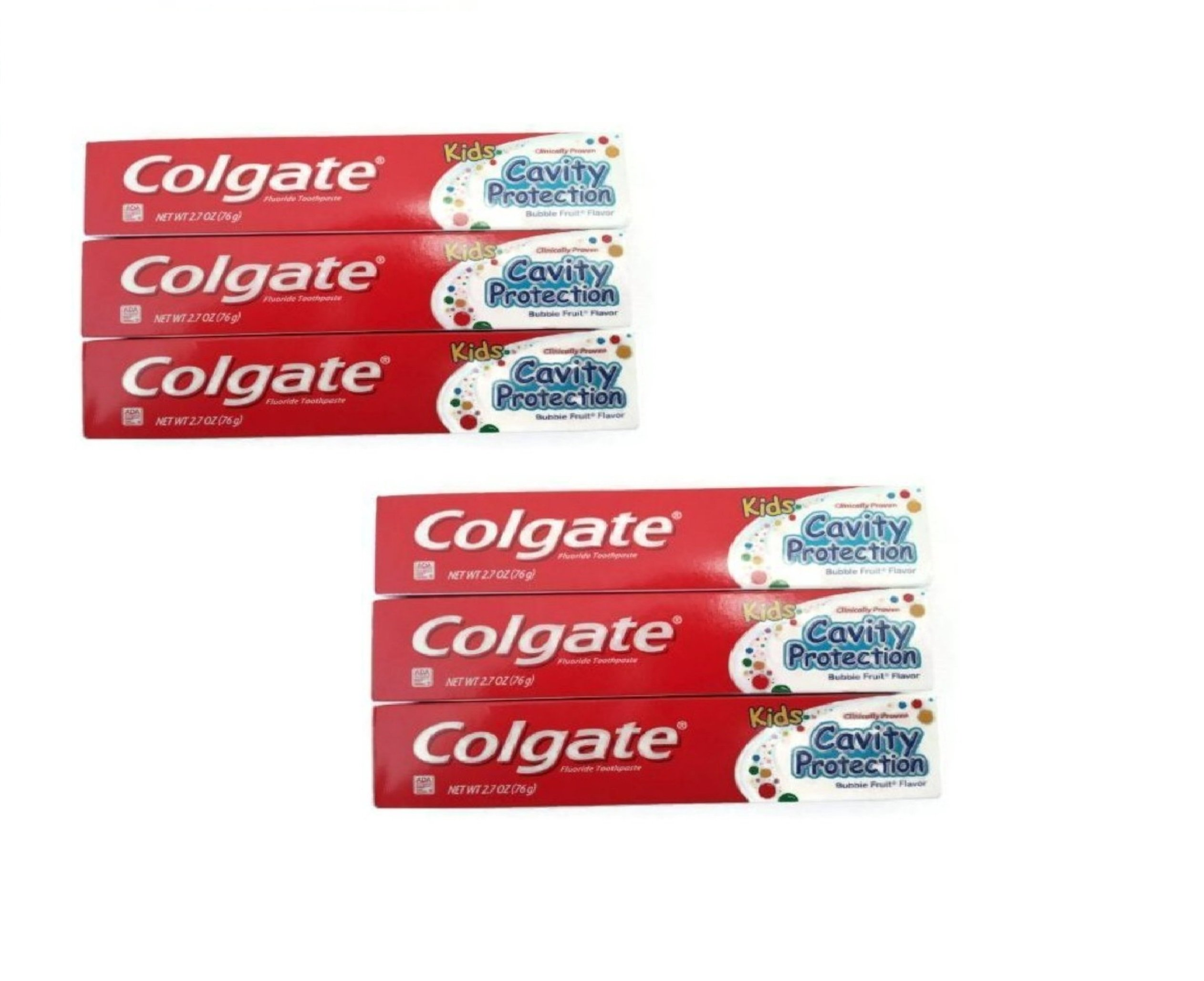 Colgate Kids Cavity Protection Fluoride Toothpaste, Bubble Fruit 2.70 oz ( Pack of 6)