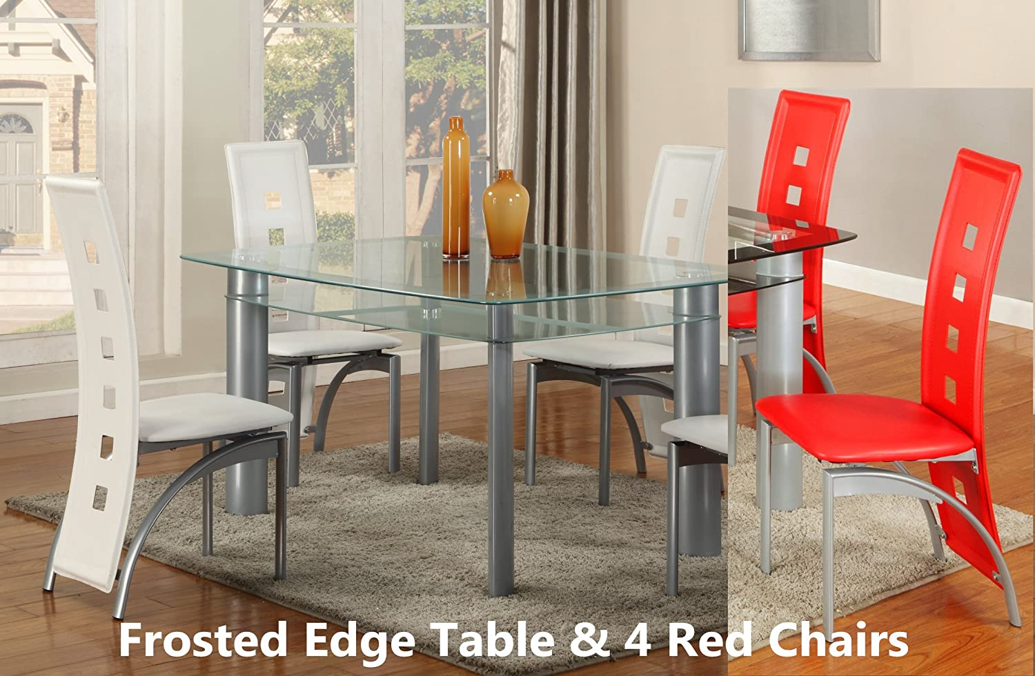 amazon com gtu furniture 5pc glass dining room table set 1