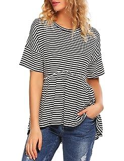 aef70d11e27cbc Sherosa Women's Loose Fit Ruffle Hem Short Sleeve Peplum Shirt Blouse Top